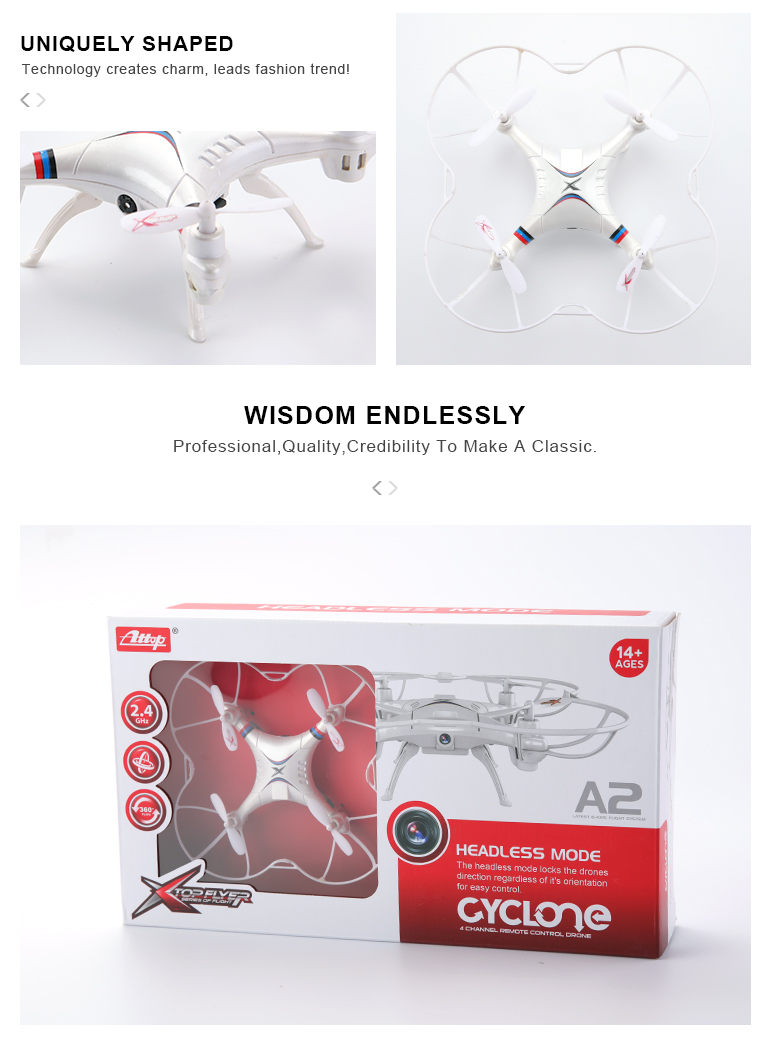 A2 professional rc quadrocopter 2.4G 4ch mini self flying drone with camera