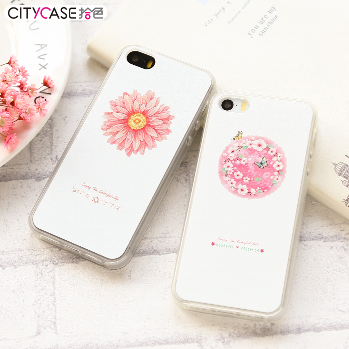Citycase Mobile phone Accessory 3D case cover with Flowers for iphone 5 5S