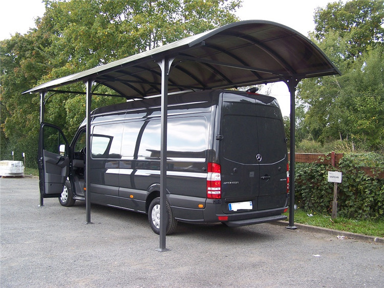 Long span rust-proof aluminum frame solid polycarbonate single slope carport