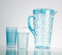 2.5L Clear Crystal Cold Plastic Water Pitcher/Jug With Cups In Set