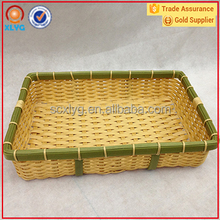 2016 New tyle hot sale rectangle plastic storage PP basket bamboo