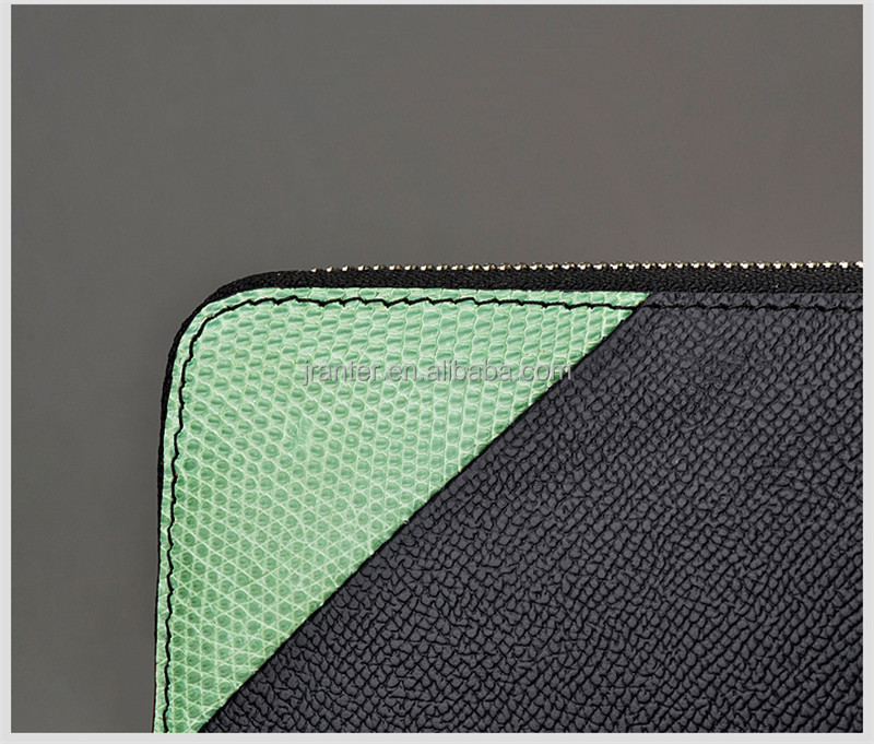 Fashion Zipper Wallet Lizard Skin and Cow Leather Wallet for Women