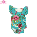 0-24M Toddlers Girls 3 Layer Flutter Sleeveless Onesie Aqua Floral Frilled Triple Ruffle Baby Bodysuit Romper