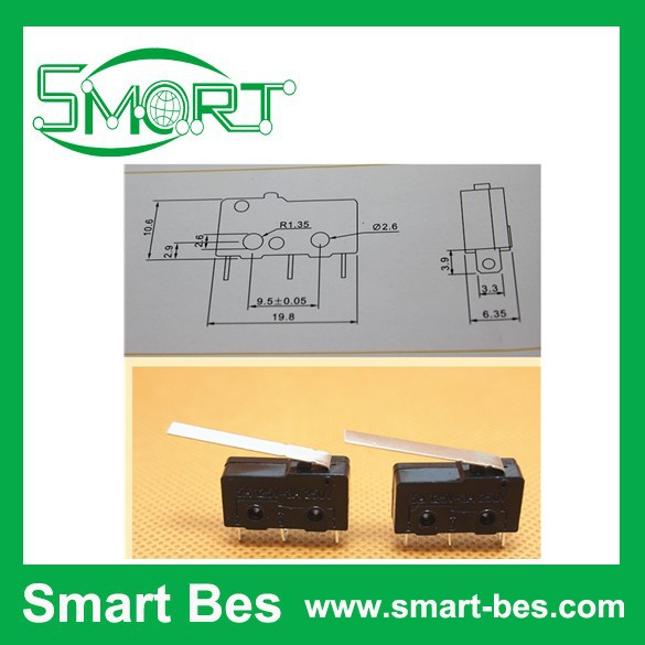 Free shipping~200pcs/lot Small micro switch trip switch KW12 HX with handle/not with handle/short shank 3 feet