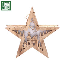 christmas led light star shaped wooden ornaments hanging decorations