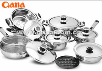 stocked item high quality swiss line royalty line 16pcs cookware set stainless steel cooking pot