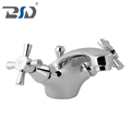 Dual Handles Two Lever Polished Chrome Monobloc Sink Mixer Tap Brass Bathroom Kitchen Faucet