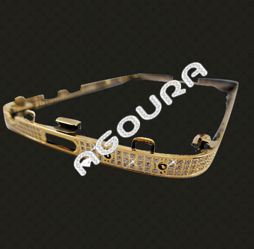 For Blackberry Q1024ct gold plated crystal housing, diamond housing for Blackberry Q10,oem bezel for blackberry q10
