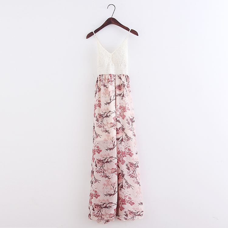 Sexy girl Bohemian beach dresses vacation chiffon printing was thin lace harness summer