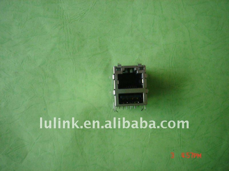 POE RJ45 female Connector modular jack with LED