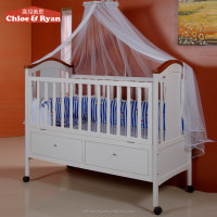New design mulitfuntional wooden baby cot/ baby cribs with 2 underneath drawers baby bed