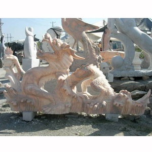 New product east flying egypt cream stone marble dragon sculpture