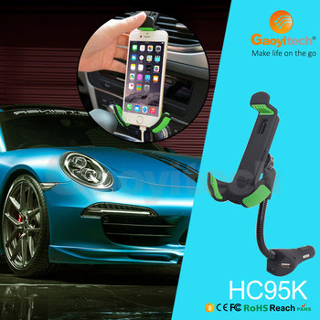 2017 factory price gooseneck car charger holder mobile phone charger holder