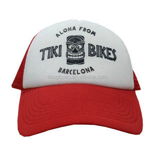 Custom Trucker Cap China Manufacture Cheap Red Silkscreen Print Mesh Trucker Hat