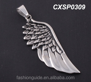 high quality Free sample stainless steel casting wing pendant