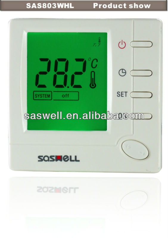Gas water radiant or oil heating and cooling digital room thermostat