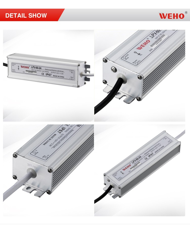 WEHO Factory outlet small size IP67 led driver waterproof 60w 12v swithching power supply