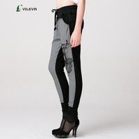 jeans style black grey ladies patchwork pants pattern with waistband