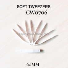 CW0706 wholesale plastic white tweezers 60mm contact lens protect