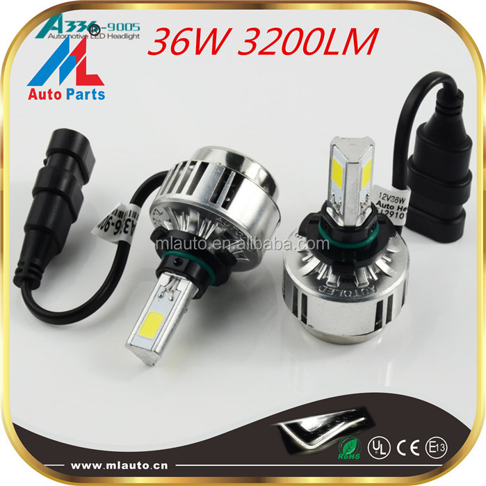 High power 36w led headlight bulb h7,3200lm led 9005 headlight bulb,fanless universal automatic headlights kit