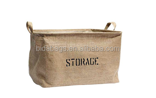 Medium or Large Jute Storage Bin for Toy Storage - Storage Basket for organizing Baby Toys, Kids Toys, Baby Clothing,