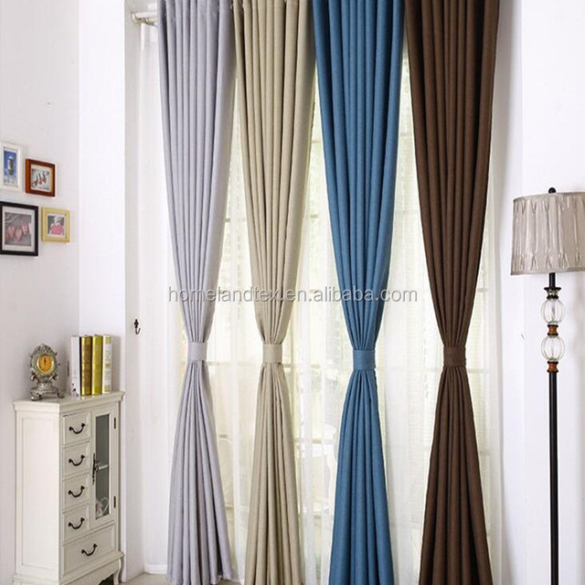 Plain dyed blackout curtains linen fabrics solid color for bedroom full shade window curtains panel