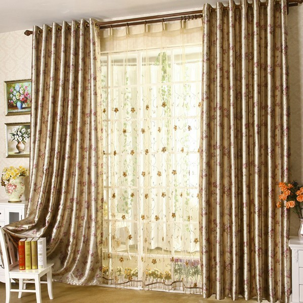 2015 New Design Living Room Curtain Beautiful Flower Patterns Bedroom Curtain