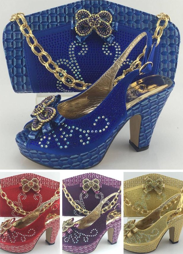 2016 Latest all season suitable Italian matching gold shoes and bag set