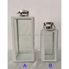 High quality white hanging stainless steel hurricane lantern for wax or LED pillar candle home decor & gifts