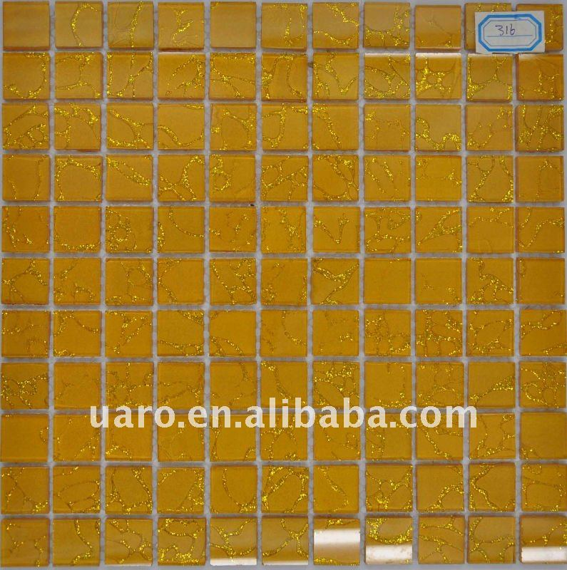 Artistic fasion wavy glass tile gold beads inject glass mosaic tile