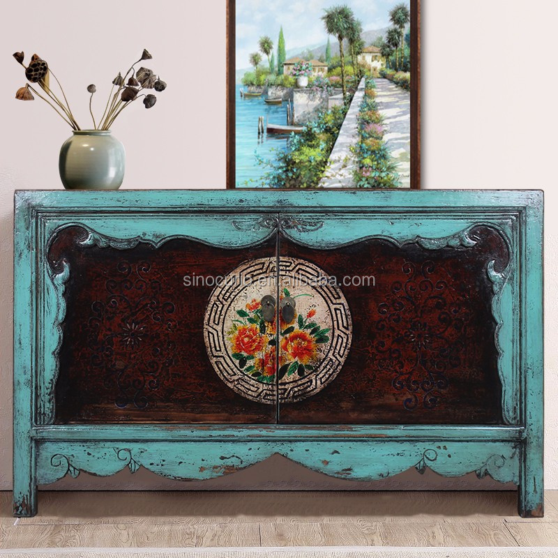 Chinese Antique furniture living room sideboard cabinet hand painting