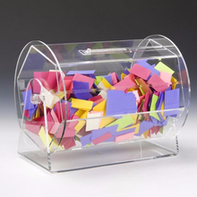 Clear Acrylic Lucky Draw Box Lottery Draw Display Box, Acrylic Raffle Ticket Drum