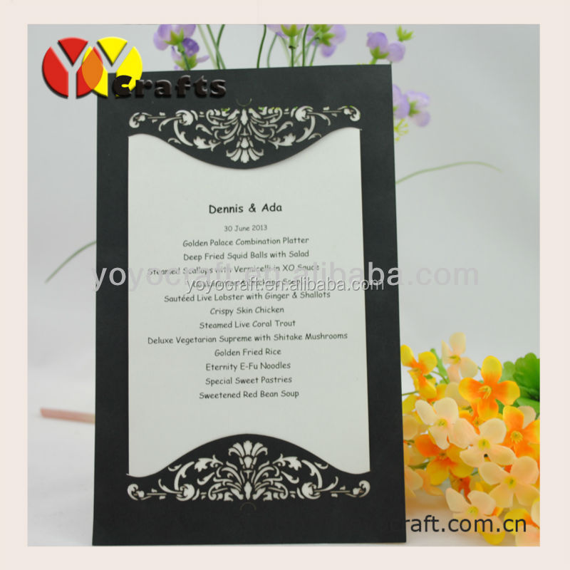 Latest Weddings Invitation Menu Card,Free Sample 2015 Wedding Card