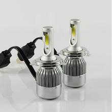 auto parts, Factory LED motorcycle headlights 12v 6-32v COB sides H4 H7 H6 24w high low beam 6000k canbus Motor LED