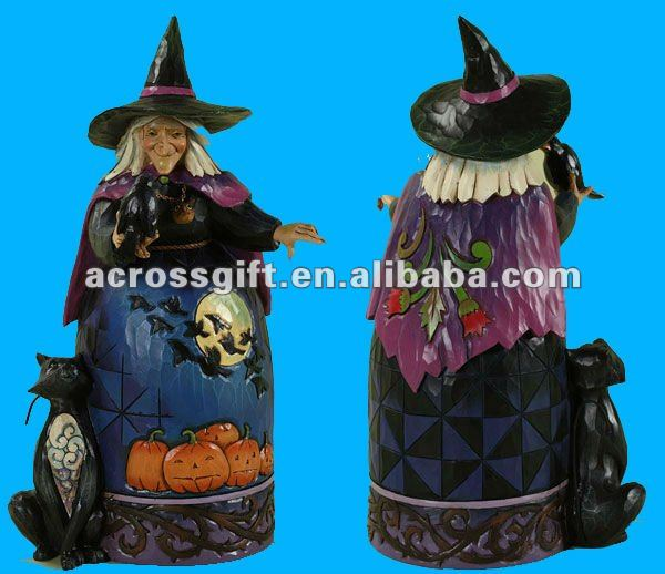 Halloween Cast resin witch with Crow and Cat