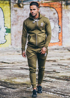 Slim Fit Men's Hooded Tracksuit Tops Full Zip up Gym Hodie Tapered Jogger Pants Tracksuit Bottoms Custom Mens Joggers