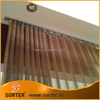 Decorative magnesium alloy cascade coil woven mesh screen metal drapery
