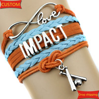 Infinity Love IMPACT baseball Sports college Team Bracelet teal orange blue Customize Sports friendship Bracelets High Quality