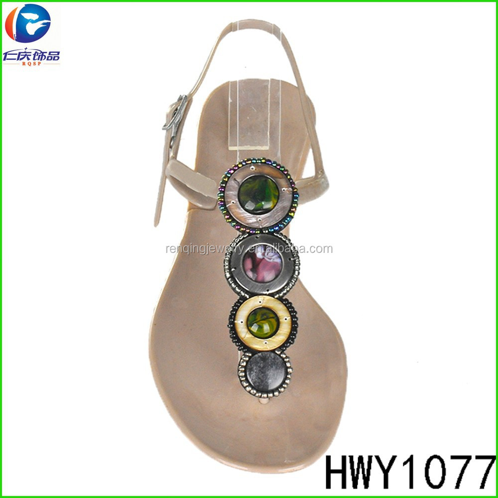 HWY1077 unique handmade beads fabric ornaments for ladies shoes decorated shoe flower