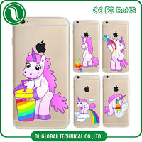 Cute cartoon unicorn case 2d sublimation printing soft transparent tpu protective case for iphone 6