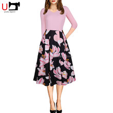 Elegant Floral Printed 3/4 Sleeve Patchwork Sexy Ladies Fashion Formal Work Dresses Women