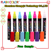 Wholesale smooth writing chalkboard neon color reversible tip dry erase valve action liquid chalk marker