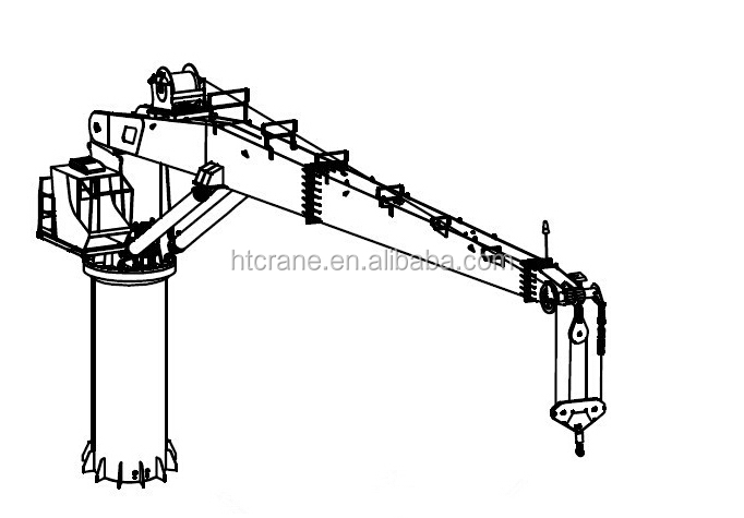 Telescopic Slewing Crane : Marine used telescopic slewing jib crane with derricking