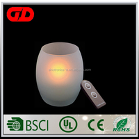Yellow color remote controlled 7 day glass candles