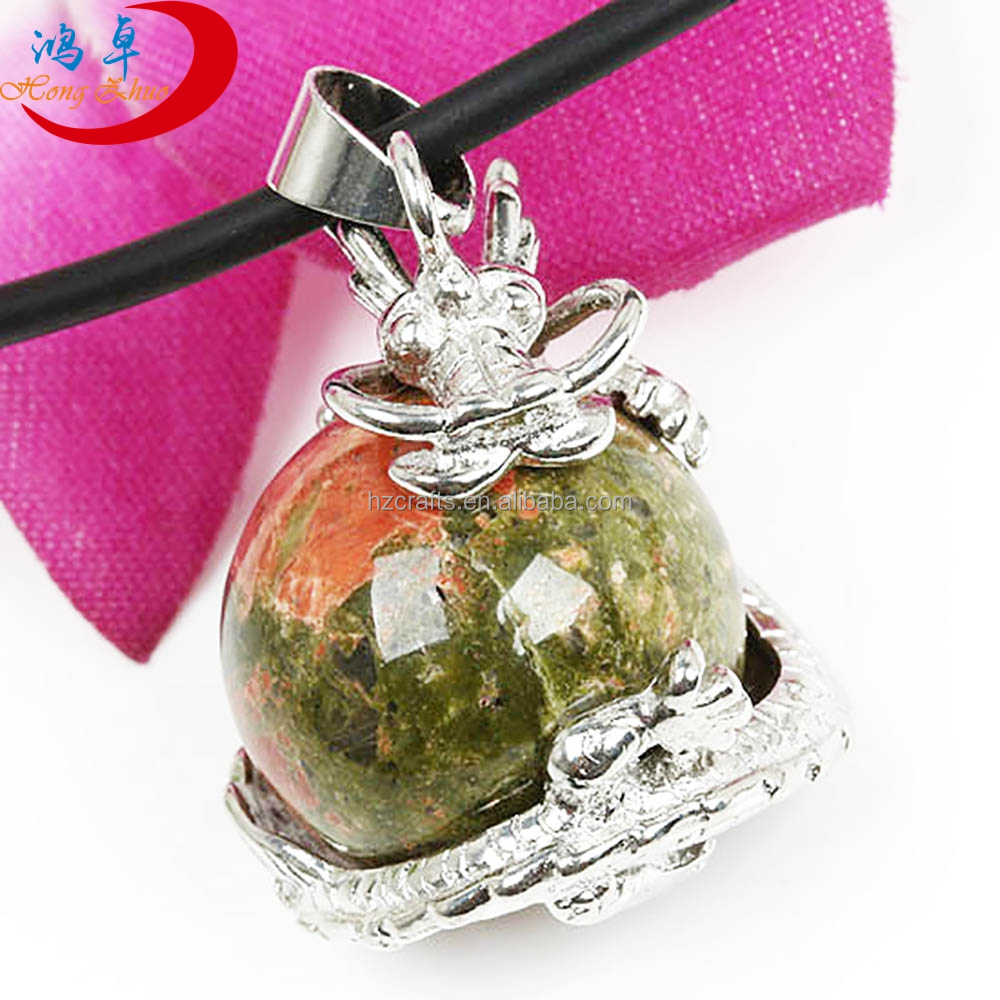Fashion Dragon Wrapped Round Ball+ Cylinder Unakite Crystal Necklace Pendant