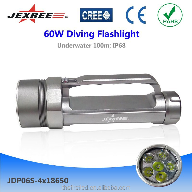 Jexree led flashlight diving hand torch XM-L2 battery operate waterproof diving hand torch