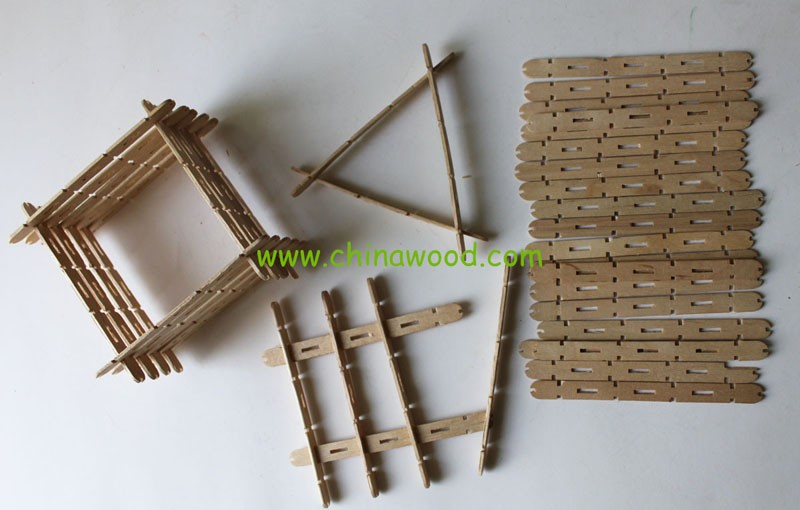 Assorted colored diy wooden sticks with groove