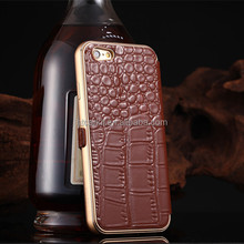 For iphone6 aluminum bumper case back with croco pattern pu leather cover manufacturer from China