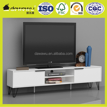 wood white NC lacquering modern led tv stand furniture design