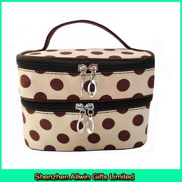 Satin material custom portable double layer cosmetic bag